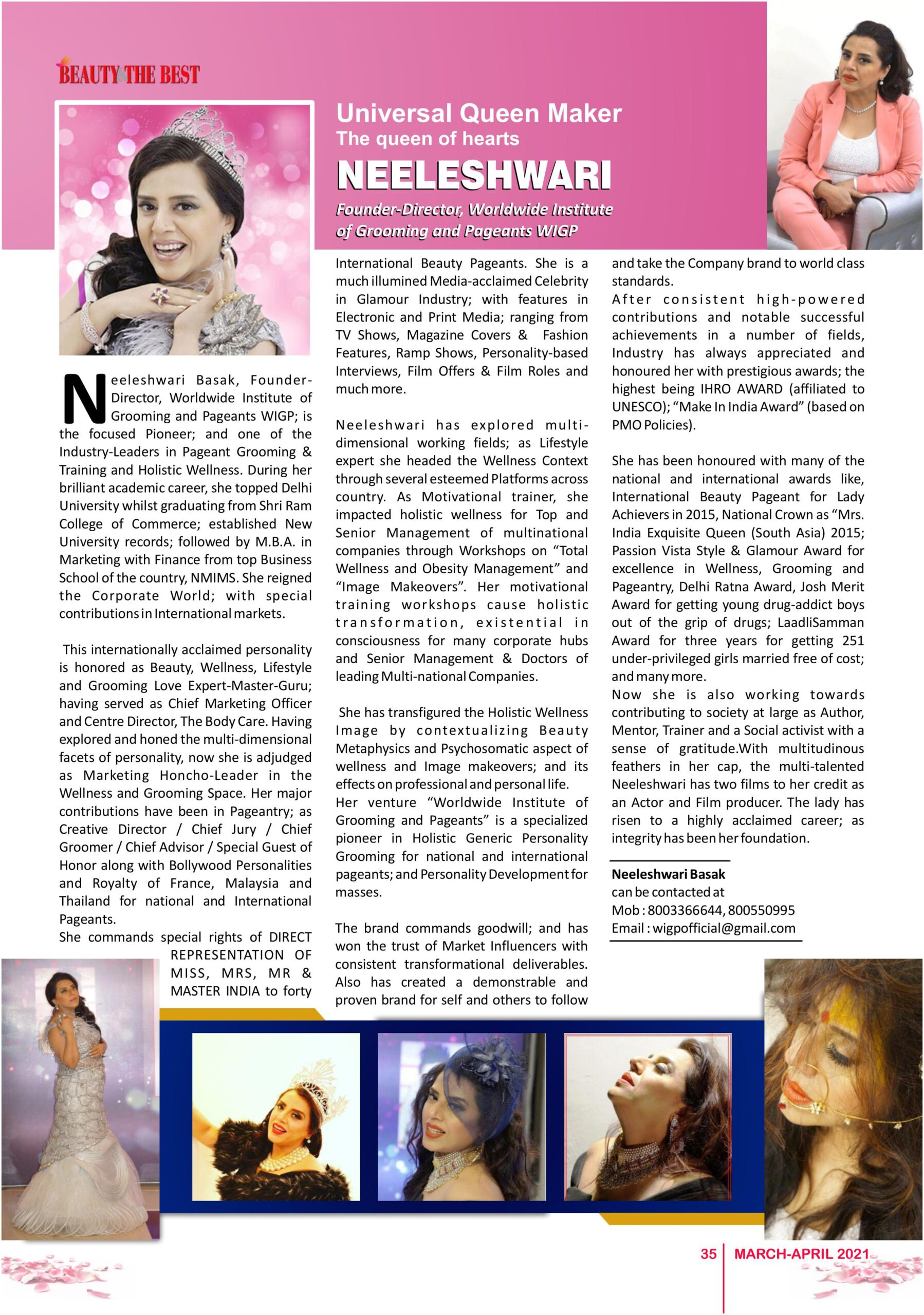 Punita Grover ( Neeleshwari Basak) Media Coverage on Beauty & The Best Magazine